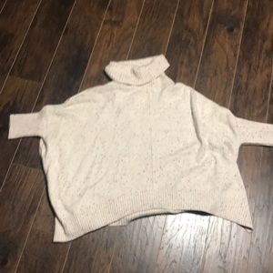 LOFT Sweaters - Loft cowl neck poncho knit sweater rainbow large